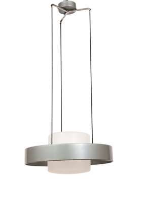 A circular pendant light designed by Bruno Gatta, model 1158